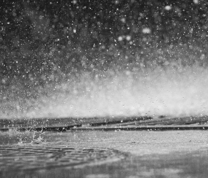 Grey scale picture of water droplets on glass looking out