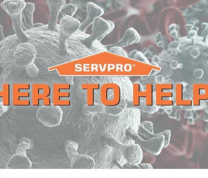 Viruses under a Microscope With SERVPRO Logo and Statement WE ARE HERE TO HELP